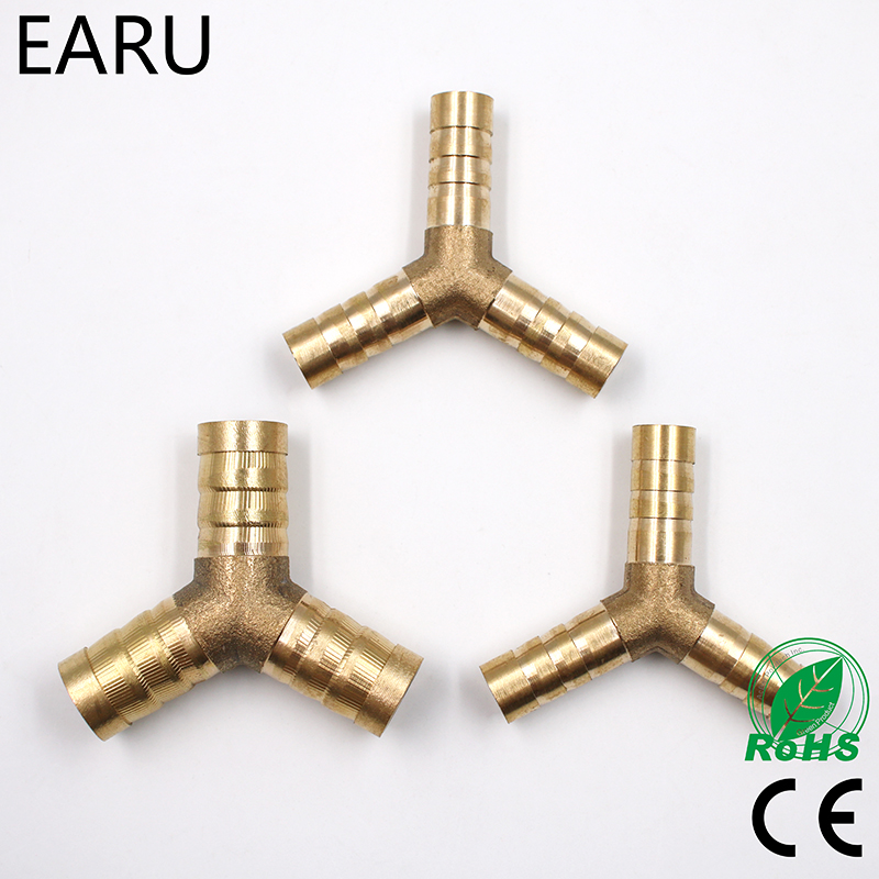 6-12mm BRASS Y Type Hose Joiner Piece 3 WAY Fuel Water Air Pipe TEE CONNECTOR Pneumatic Connect Plug Socket For Air Gas Oil