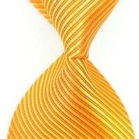 100% шелк Галстуки для Для мужчин золото желтый полосатый высокое качество Средства ухода за кожей Шеи Галстук Новинка 2017 года Роскошные Диза...