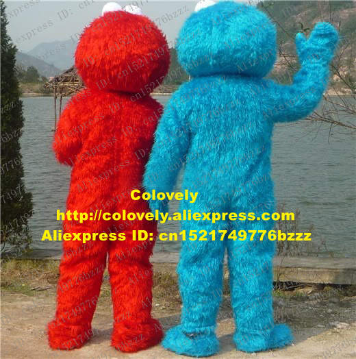 US $323 0 5% OFF|New Cookie Monster Elmo Freak Couple Sesame Street Mascot  Costume Mascotte Plush Long Fur With Hairy Body Adult No 270 Free Ship-in