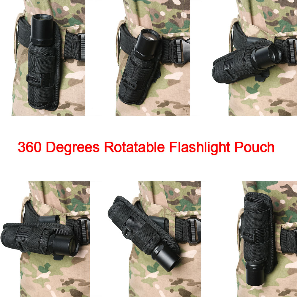 360 Degrees Rotatable LED Flashlight Pouch Holster With Clip Belt Molle Lighting Accessories Torch Case Torch Cover Hunting Bag