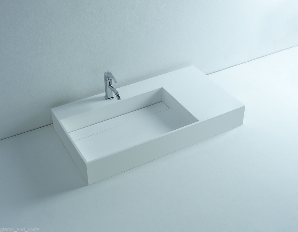 WALL MOUNTED 900MM VANITY COUNTER TOP BASIN STONE SOLID SURFACE MATT WHITE SINK 3815 1035