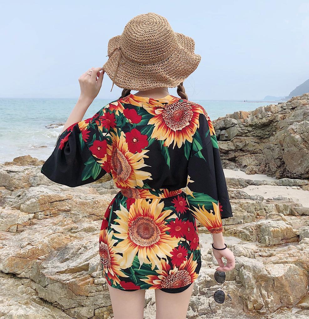 2019 New Kimono Cardigan Casual Half Sleeve Loose Black Women Japanese Kimono Women Outerwea