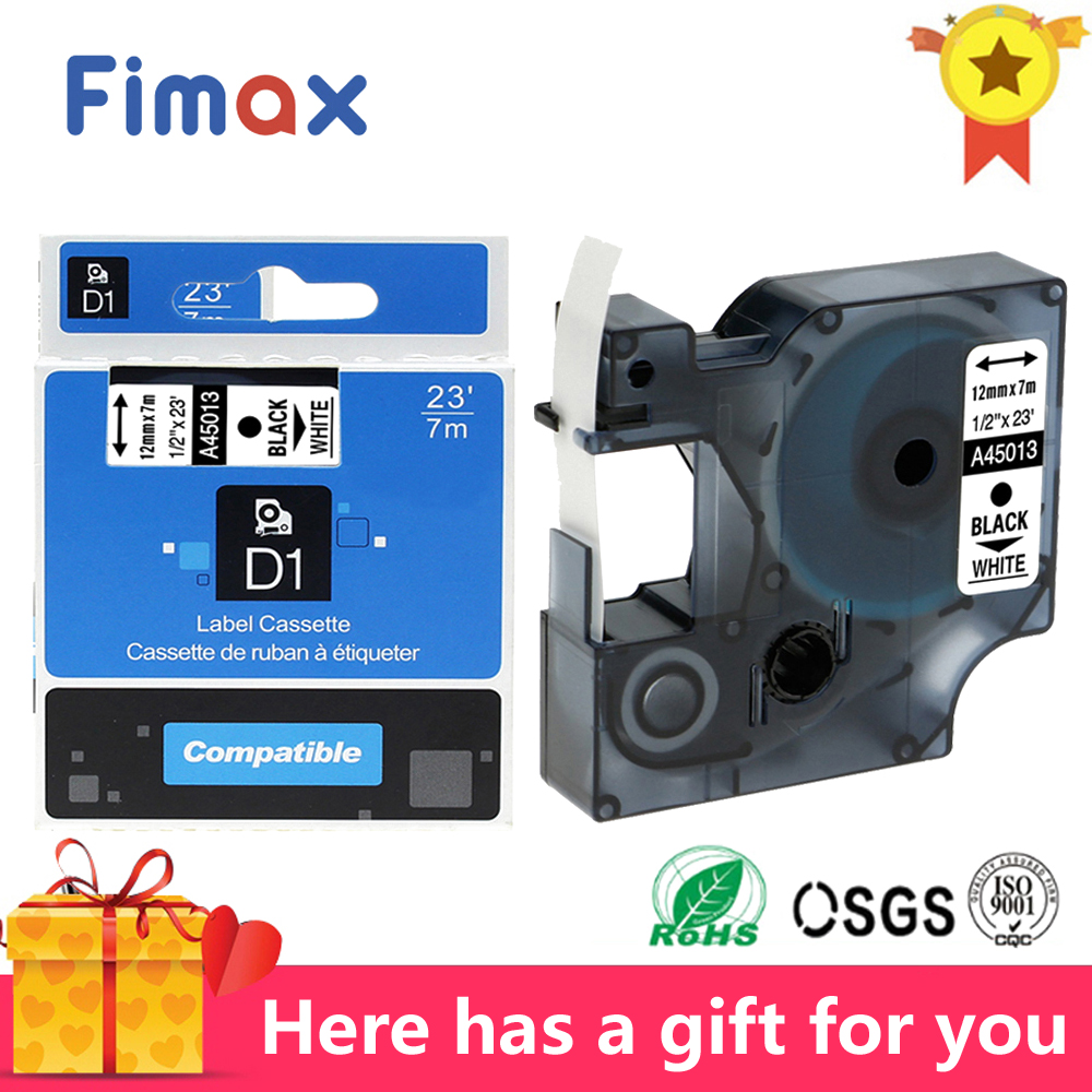 Fimax 1Pcs 45013 for Dymo D1 Label Printer Ribbons Tape 45012 45017 45016 45010 45018