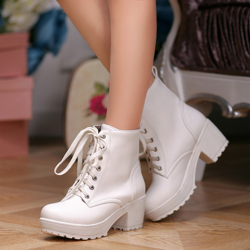 Platform Heels Women Ankle Boots Soft Leather Thick high Heel Platform Boots Winter Autumn Boots Warm Fur Lace up Women Shoes lace up boots 2018 fashion thick heel ankle boots women high heels autumn winter woman shoes black boots platform shoes yma62
