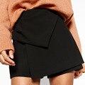 Elegante Criss-cross Irregulares Capas Cortocircuitos Delgados Ocasionales Faldas de Moda Las Mujeres de Cintura Alta Mini Shorts Negro
