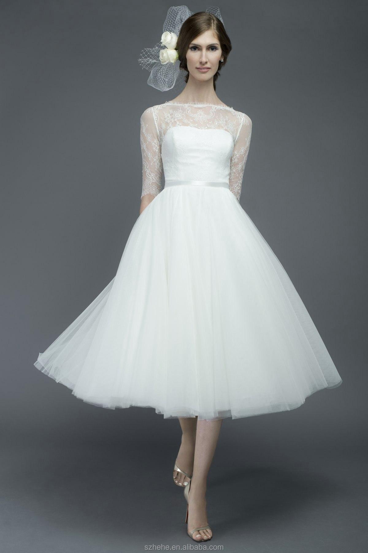 Bridals CW3198 Elegant vintage designer country western tea length wedding  dresses with sleeves-in Wedding Dresses from Weddings   Events on  Aliexpress.com ... 693179160f80