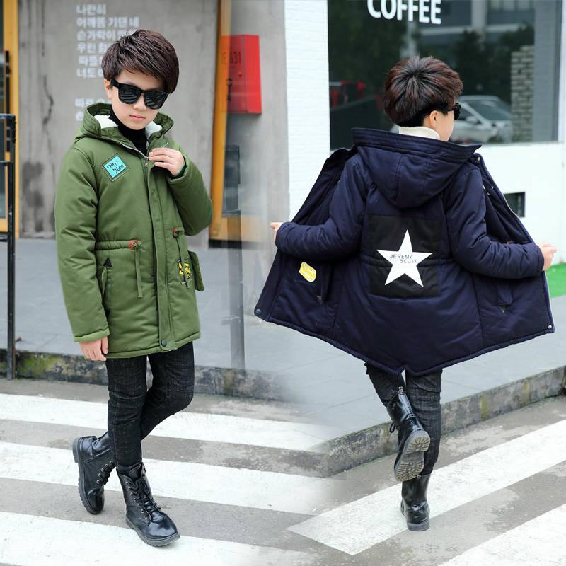 2019 new boy cotton coat winter suit big boy plus velvet windbreaker thick cotton suit long section warm cotton jacket