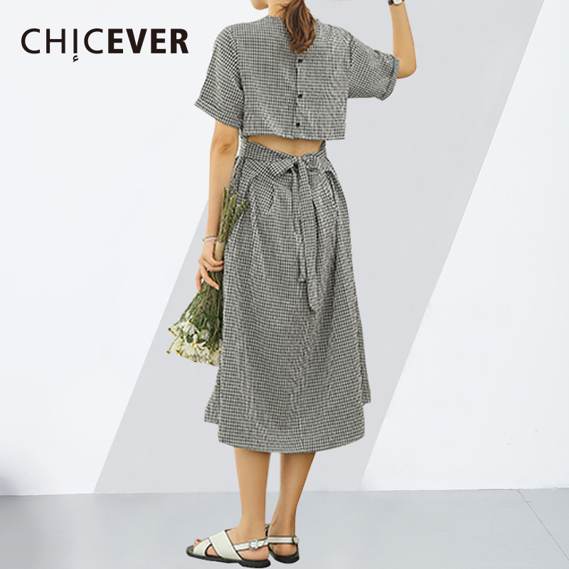 CHICEVER Hollow Out Backless Vinage Plaid Dress Female Summer Op Short Sleeve High Waist A Line Dresses For Women 2018 Fashion