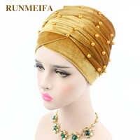 RUNMEIFA Neue design Muslimischen Muslimischen Skullies & Mützen samt schal kappe für damen luxus marke perle kopf schal Afrikanische wrap hut