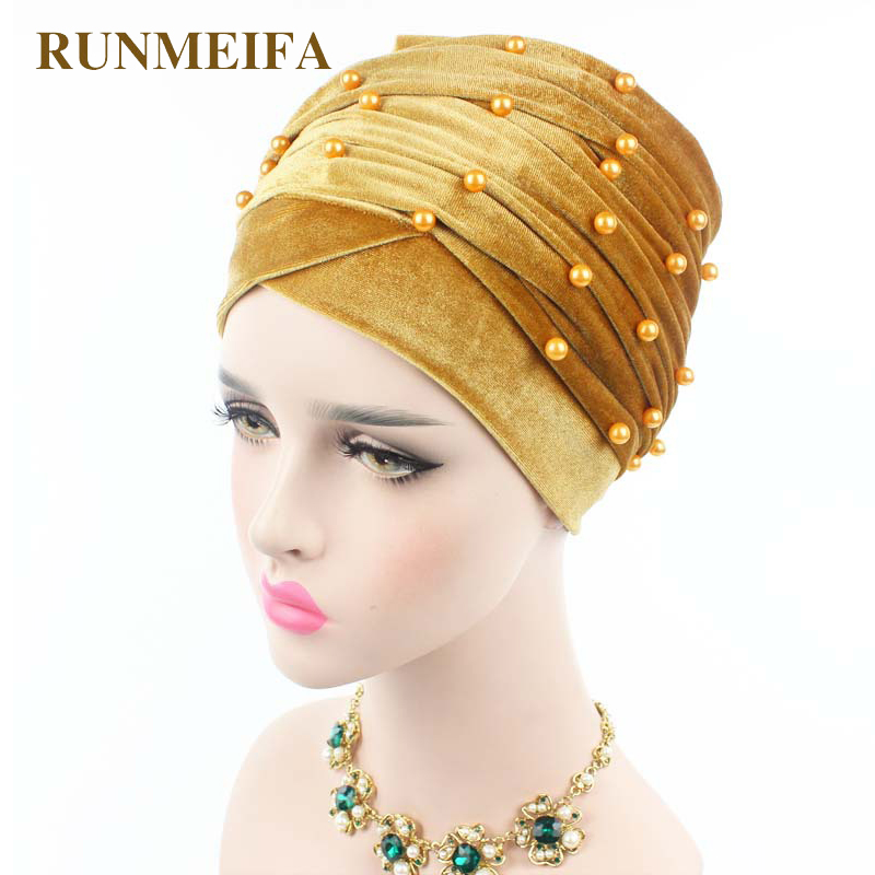 RUNMEIFA New Design Muslim Muslim Skullies & Beanies Velvet Scarf Cap For Ladies Luxury Brand Pearl Head Scarf African Wrap Hat