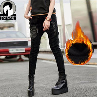2019 Winter Punk Plus Thick Velvet Jeans Woman Casual Stretch Denim Solid Color Stitching Waist Black Jeans Skinny Jeans Trouser