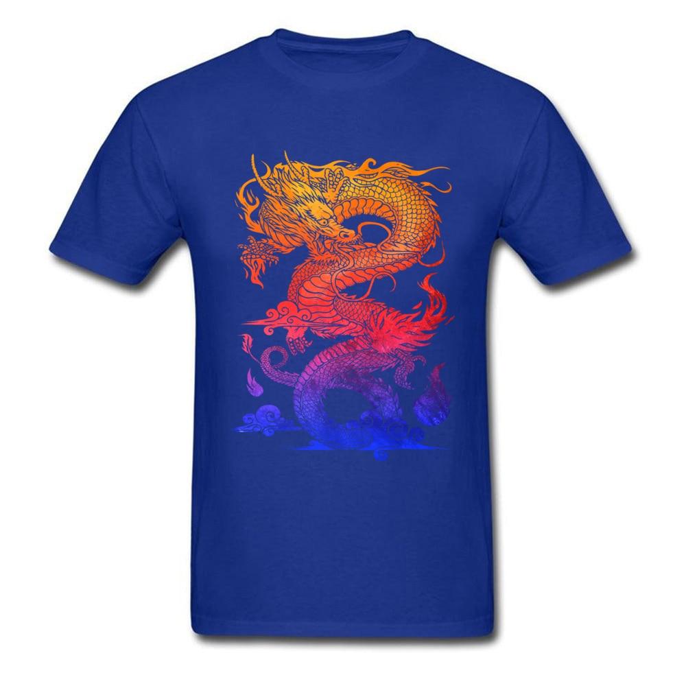 Прочный Шарм Новые мужские футболки Красочные Спортивные футболки китайский дракон и ткань одежда черные рубашки - Цвет: Blue