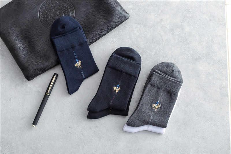 5 זוגות\חבילה חורף גברים גרבי טהור כותנה עבה חם צוות גרבי מזח פולו רקום גברים של מזח פולו גרבי במדיות דה לוס