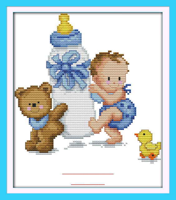 Botella de bebé nacimiento registro Cruz puntada kit dibujos ...