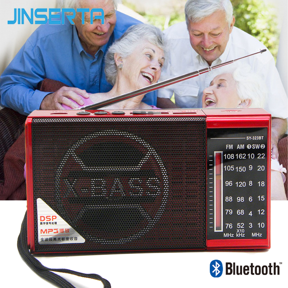 JINSERTA AM/FM/SW Portable Radio Full Bands Radio TF Card U Disk Receiver with Bluetooth Fuction Support Mp3 Player