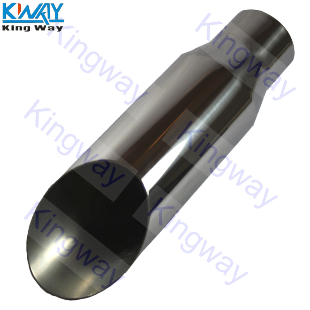 2.5 inch Inlet 3.5 Outlet 8 Long Dual Wall Slant Angle Cut Exhaust Tip Tail Pipe