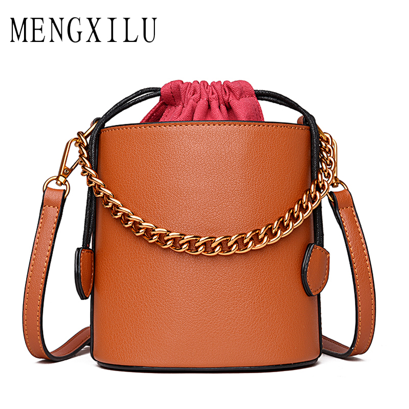 MENGXILU Fashion Bucket Real Leather Bags Handbags Women Famous Brand Designer Chains Shoulder Bag Women Circle Tote With Handle mengxilu scrub shoulder bags for women leather luxury handbags tassel tote bag women bucket bag with fur ladies bolsas femininas
