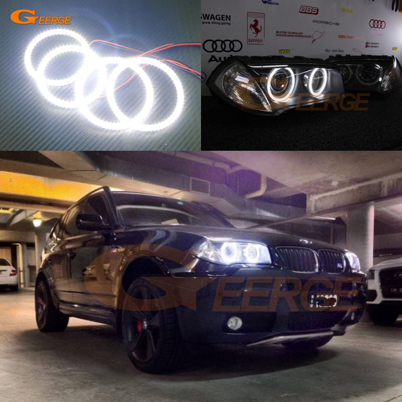 For BMW E83 X3 2007 2008 2009 2010 Xenon headlight Excellent Ultra bright illumination smd led Angel Eyes Halo Ring kit free shipping super bright ccfl angel eyes halo rings kit for bmw e83 x3 auto headlight 4 rings 2 waterproof inverters page 7