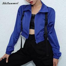 2019 Autumn Women blue Cropped Jackets Fashion Slim Cool Lady Front Zipper Buckl