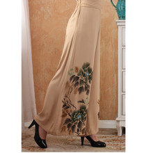 2014 New Free Shipping Chinese Cotton Hand-Made Painted Women's Elastic Waist Trousers Flares Peony WP0006