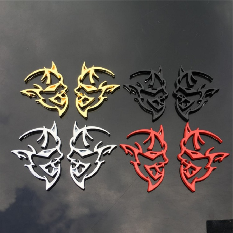 2PC Car Styling 4 Colors Chrome Metal For 3D Hellcat Decal Emblem Rear Badge Sticker dodge challenger Charger Ram Chrysler Boot