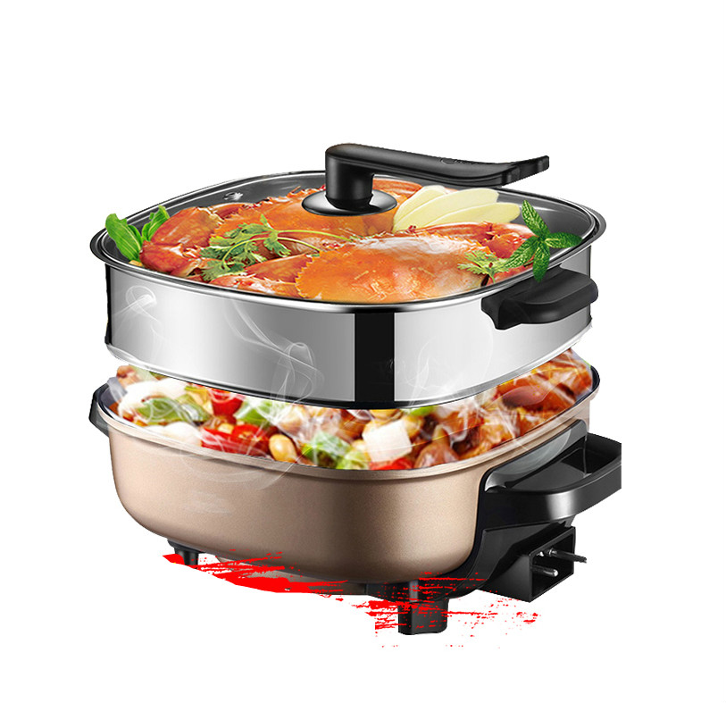 Hot Plates Electric hotpot household multi-functional frying pan cake small mini cooking pot edtid multifunctional electric cooker mini heat pan students hot pot without oil fume nonstick frying pan special offer