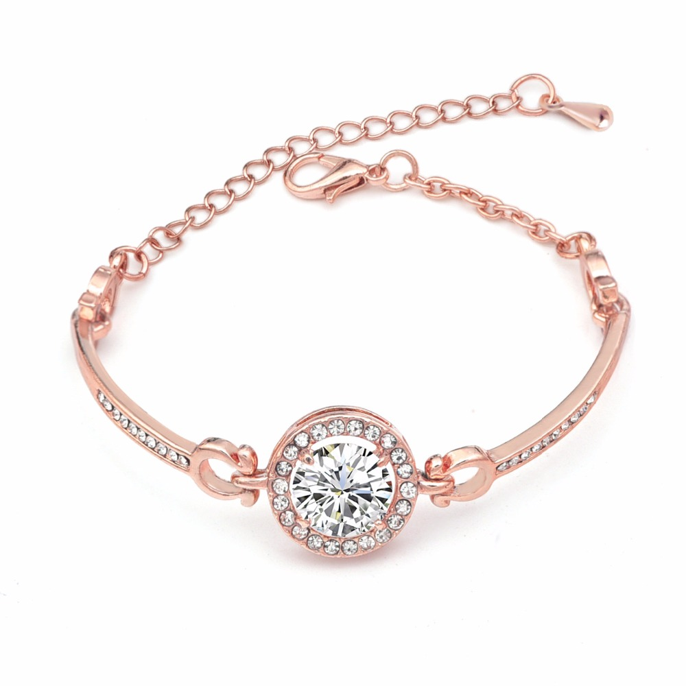 Round Micro Mosaic Cubic Zirconia Rose Gold Color Bracelet for Women Fashion Crystal Jewelry Charm Girls Bracelets & Bangles