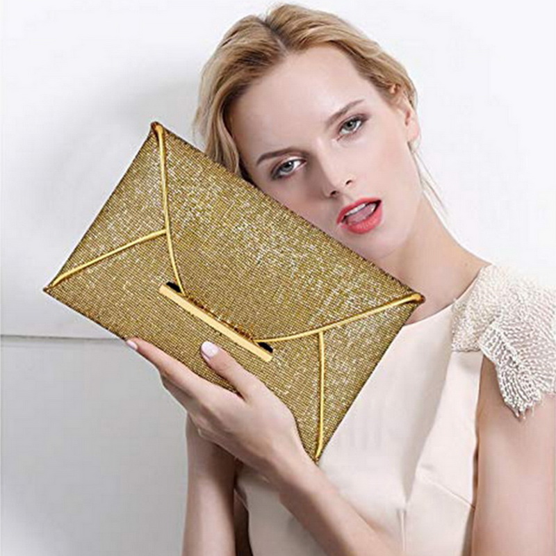 SHUJIN Black Handbag Envelope Clutches Evening-Bag-Pouch Party-Bag Gold Purses Sequins title=