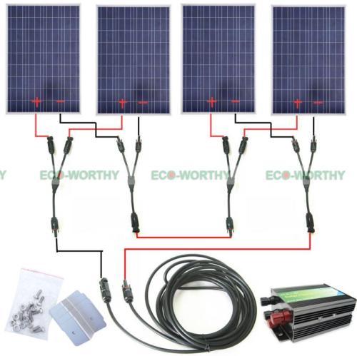 COMPLETE KIT 400 Watt 400W 400Watts Photovoltaic Solar Panel 24V System RV Boat 400watt complete kit 4 100watts photovoltaic solar panel for 24v system rv boat solar generators