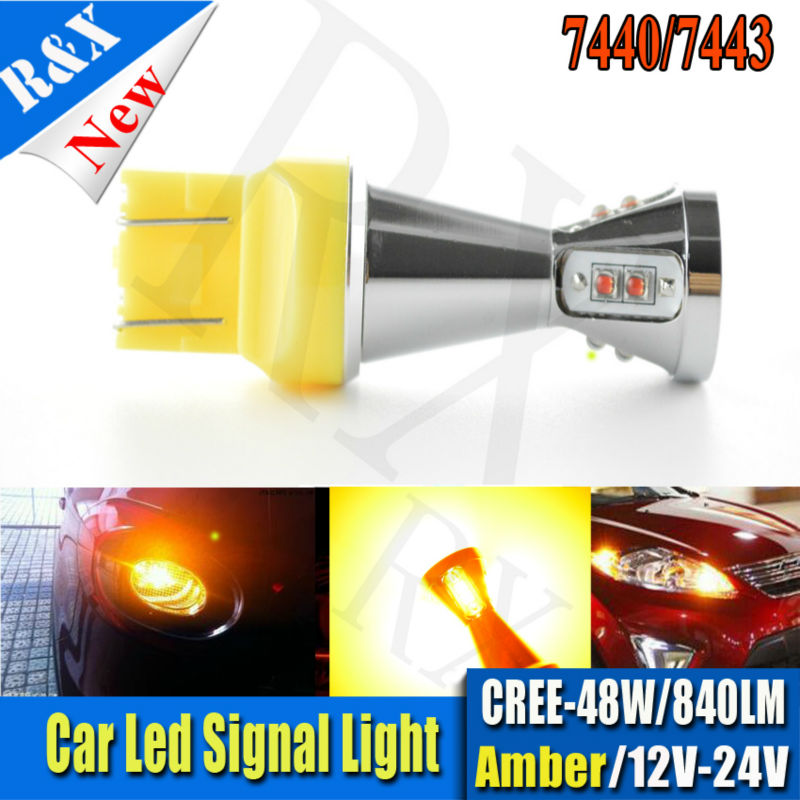 1pcs t20 w21/5w 7443 7440 48W Crees Led Chips car Fog lights Daytime Running Bulb auto Lamp parking car light source Amber W21W h1 100w 12v halogen bulb super xenon white fog lights high power car headlight lamp car light source parking auto 2pcs 2016 new