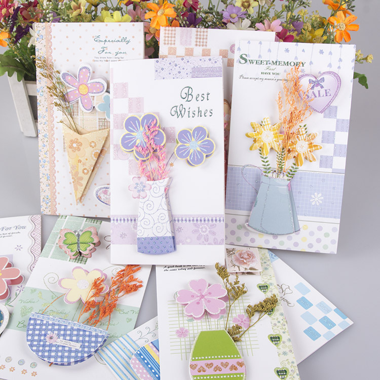 Free ship!1lot=24pc! Dry flower stereo message card /Birthday ...