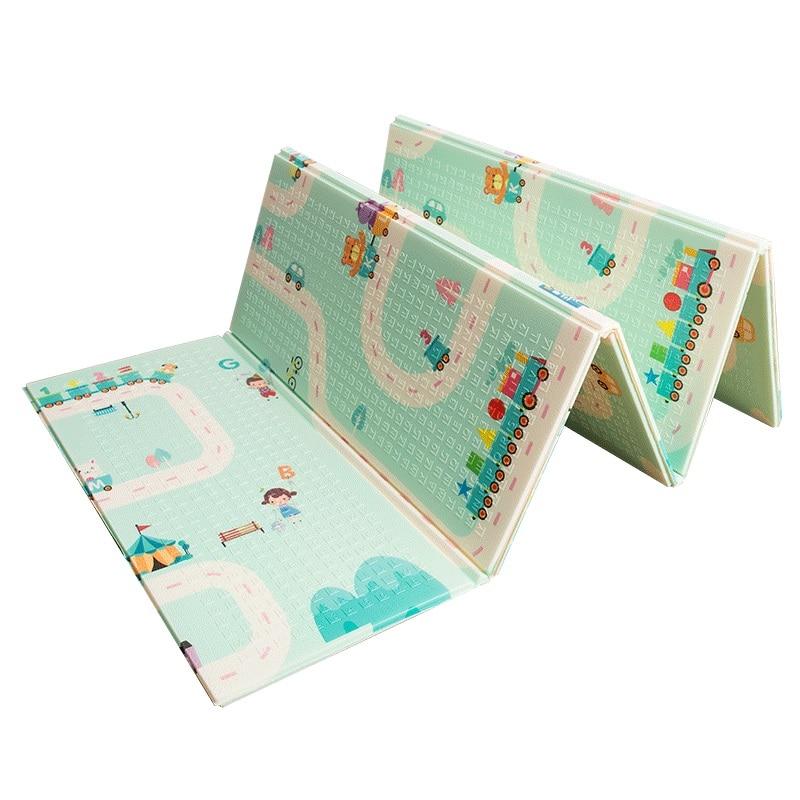 Infantile brillant 180X200 CM XPE tapis de jeu 1 CM épaisseur dessin animé bébé tapis de jeu pliable anti-dérapant tapis enfants tapis de jeu B - 2