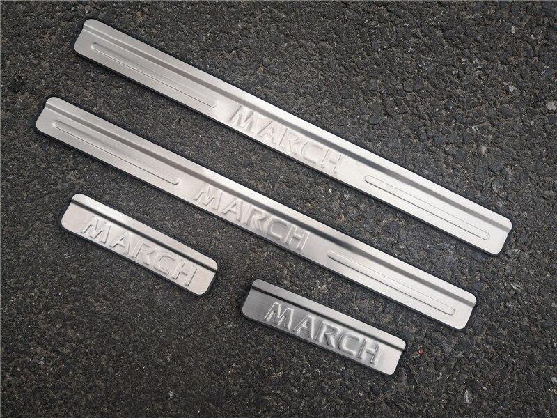 Voiture style acier inoxydable seuil de porte plaque de seuil accessoires de voiture pour Nissan mars 2010 2011 2012 2013 2014
