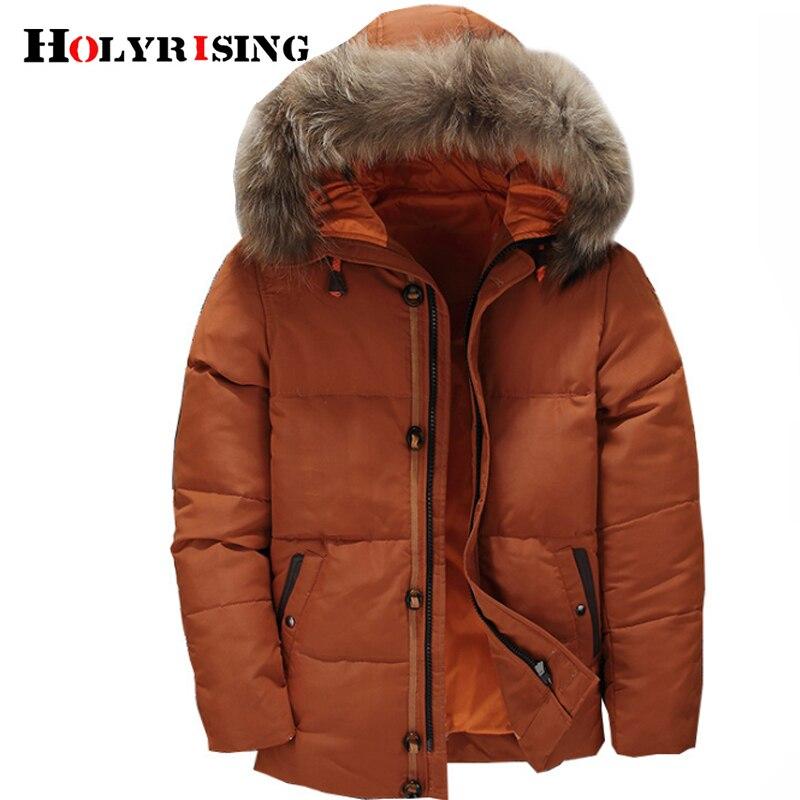 Holyrising doudoune hiver homme Men   coat   winter abrigos para hombre Men Hooded Fur Collar Outerwear   Down     Coats   18538-5