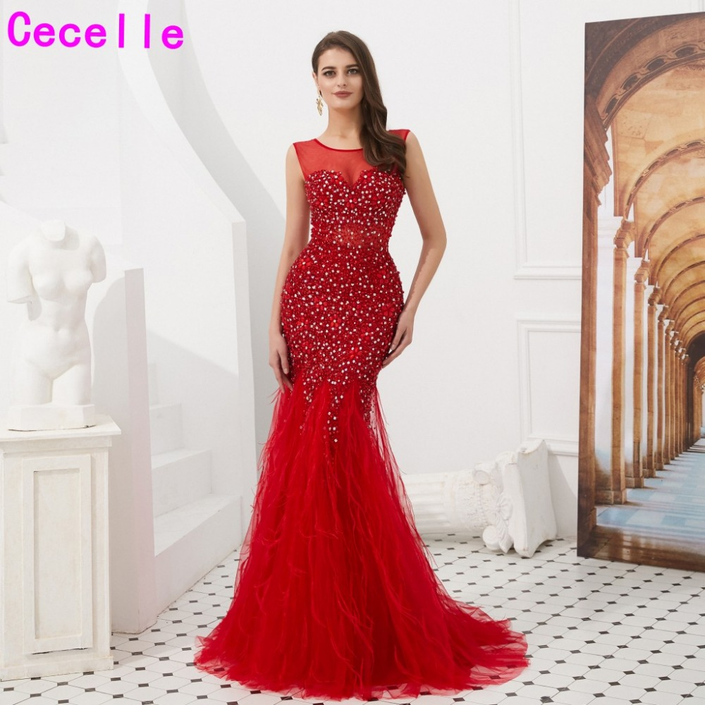 2019 Red Beading Mermaid Women Luxury Evening Dresses With Feathers Sleeveless Sexy Illusion Women Formal Evening Party Gowns