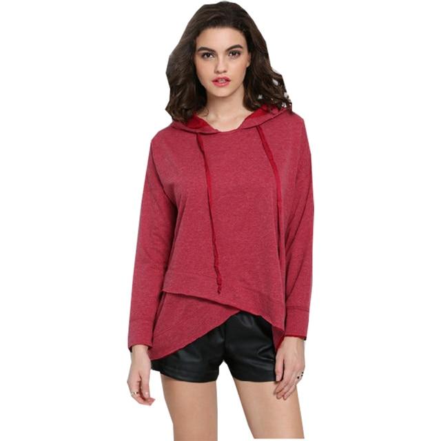new product df34f 23ac5 US $3.25  Americano europeo t shirt donna rose red asimmetrico maglione con  cappuccio top a maniche lunghe t shirt da donna clothing vestidos lbd8833  ...