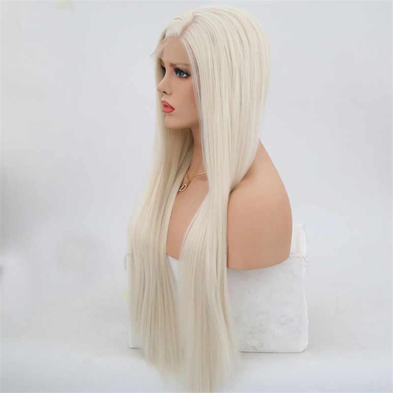 Rongduoyi #60 Platinum Blond syntetyczna koronka przodu peruki dla kobiet długi jedwabisty peruka z prostymi włosami włókno termoodporne włosy Blond peruka
