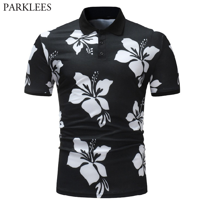 Mens Hipster Floral Print   Polo   Shirt Men 2018 Brand New   Polos   Para Hombre Slim Fit Short Sleeve Summer Camisa   Polo   Masculina 3XL