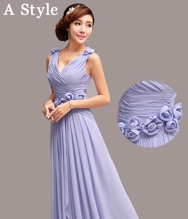 Free Shipping 6 Styles Purple Bridesmaid Dresses 2014 Long Formal Wedding Party Dress For Women A Line SD212 In From Weddings Events On
