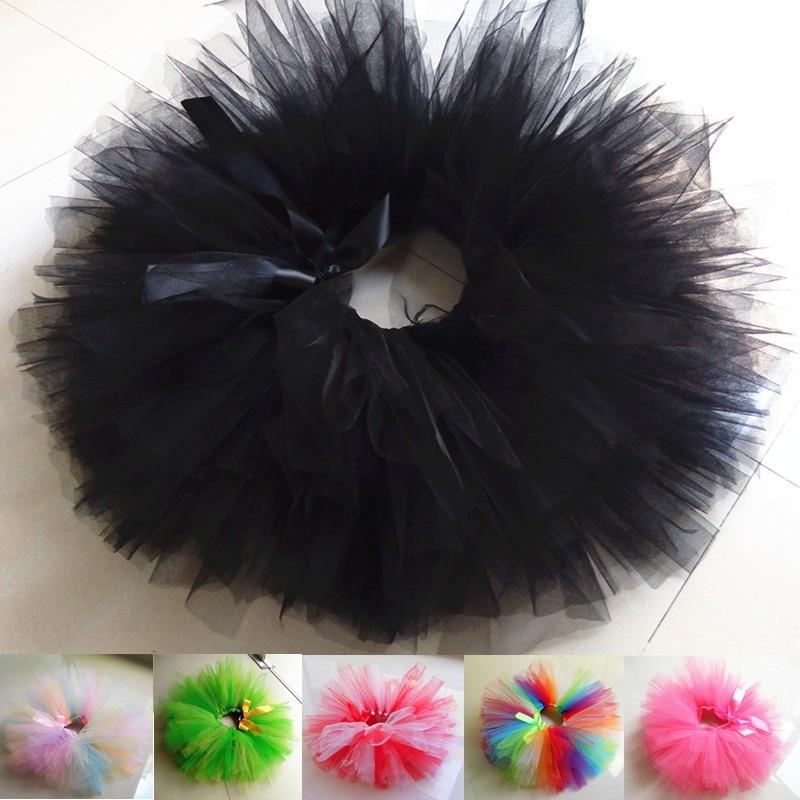 Meninas do bebê festa de aniversário traje fofo arco-íris preto tutu saia multi cores handmake ballet dança saia crianças roupas