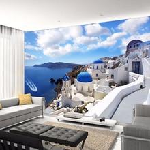 Custom 3D Photo Wallpaper Greece Aegean Mediterranean Large Murals