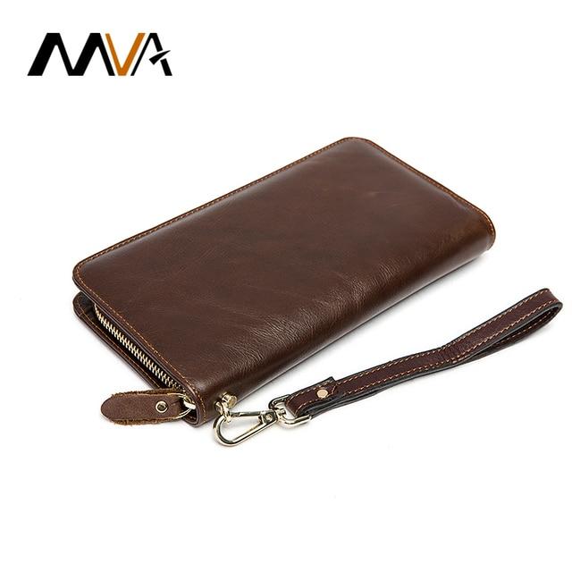 MVA Genuine Leather Wallets Men Wallets Clutch Brand Phone Card Holder Purse Zipper Wallet Long Leather Purse Wallet Handbag