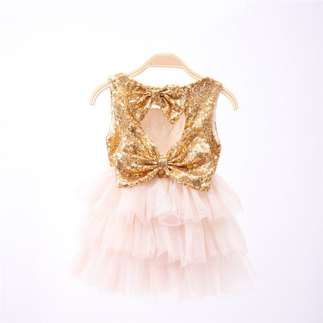 Hot 2016 12M-5Y Girl Summer Dress Fasion Sequins Bowknot Toddler Dresses Costumes Kids Girls Tutu Dress Baby Girl Clothes