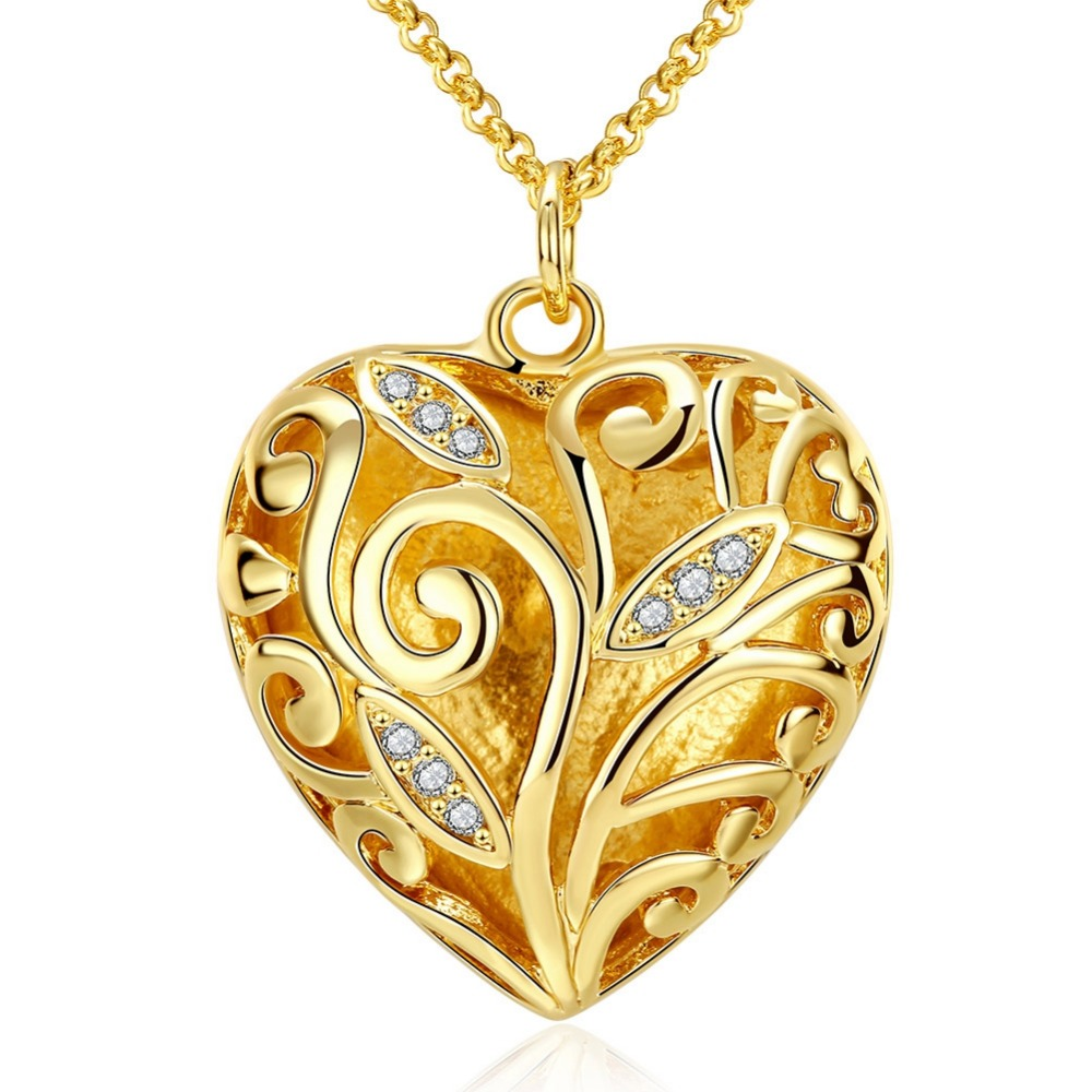 Classic Allah Pendant Necklace Wholesale Gold Colour Crystal Heart Shape Arabic Jewelry Muslim New P558