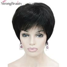 Сильная красота короткие Синтетические прямые парики термостойкие черные волосы для женщин