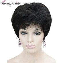 قوي الجمال قصيرة الاصطناعية شعر مستعار (باروكات) بقصة شعر مفرود الحرارة مقاومة شعر أسود للنساء