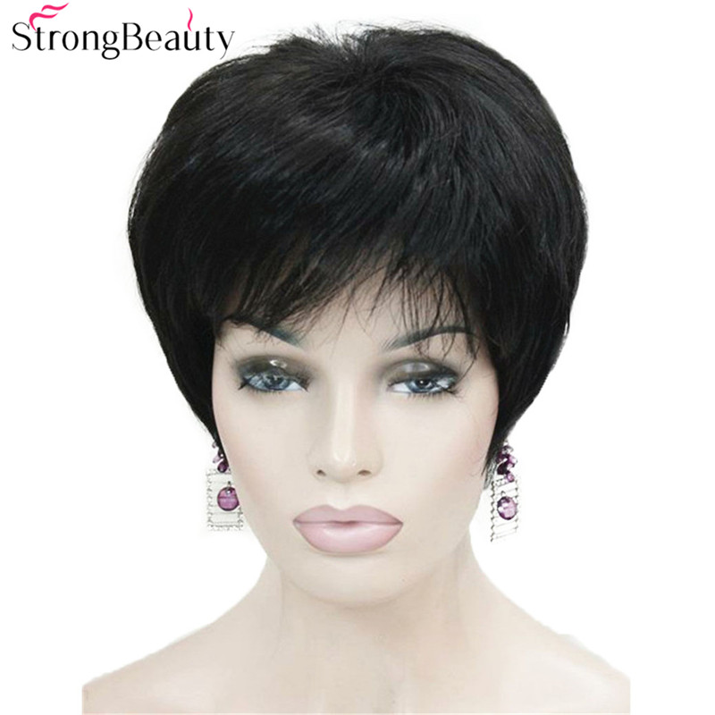 Forte beleza curto perucas sintéticas retas resistente ao calor cabelo preto para mulherhair for womenhair blackhair for black women -
