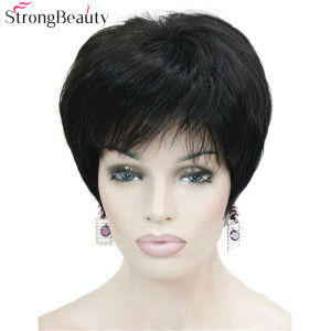 Image 1 - Strong Beauty Short Synthetic Straight Wigs Heat Resistant Black Hair For Women