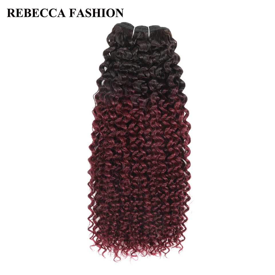 Rebecca Brazilian Curly Human Hair Remy Hair Weave Bundles 1pc Ombre Wine Red Salon Hair T1b99j High Ratio longest Hair PP 40%