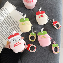 For Apple AirPods1/2 Case Fashion Cartoon Cute Fruit Banana Strawberry 3D Funny Milk Bottle Earphone with Finger Ring Strap
